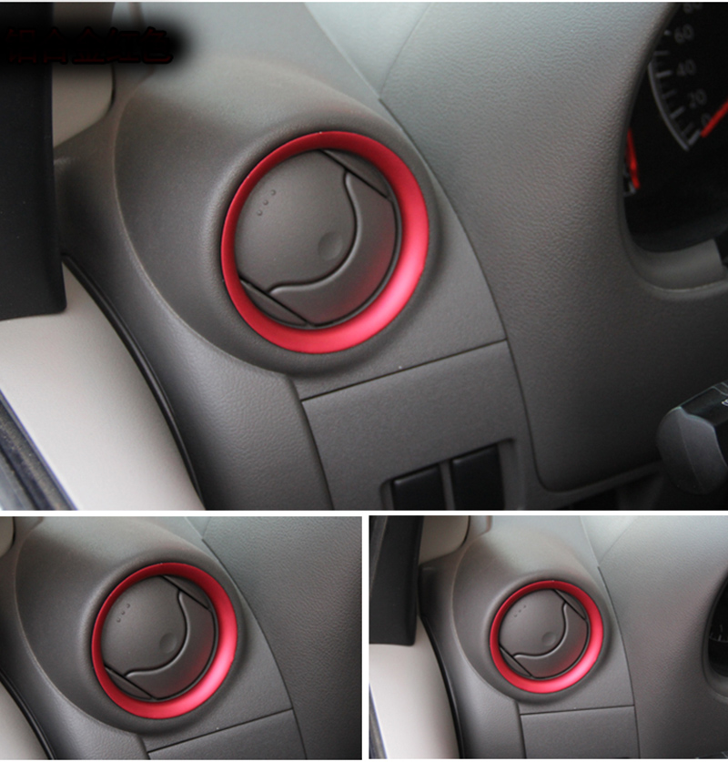 4pcs Aluminium alloy for NISSAN MICRA small outlet Air conditioning Decorative ring