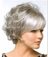Peruca Hair Queen TJ FY New Fashion Ladies Short Grey Mixed Party Curly Hair Wigs
