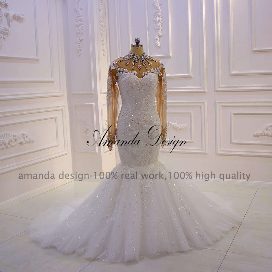 Image 3 - Amanda Design robe mariee Long Sleeves Lace Appliques Crystal See Through Mermaid Wedding DressWedding Dresses   -