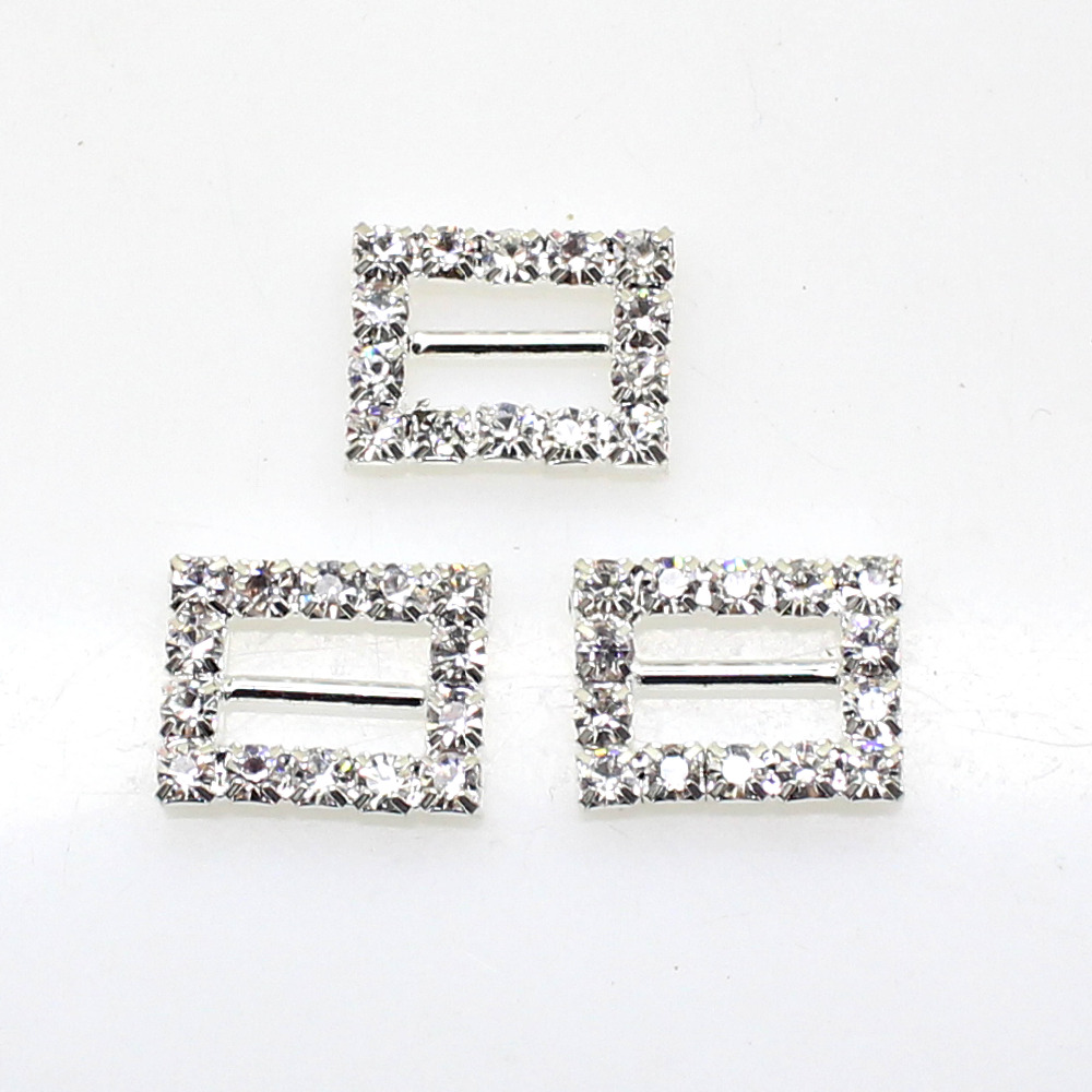 10Pcs Set 16 12mm Rectangle Rhinestones buckles Diamante Wedding Supplies Card Accessory Ribbon Decorative Deduction DIY