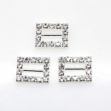 10Pcs/Set 16*12mm Rectangle Rhinestones buckles Diamante Wedding Supplies Card Accessory Ribbon Decorative Deduction DIY