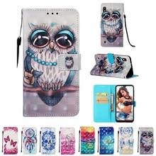 For Samsung Galaxy A50 A10 A20 A40 A70 NEW Design OWL Unicorn Skull 3D Print Flip Wallet Leather Card Slot Painted Phone Case худи print bar skull owl