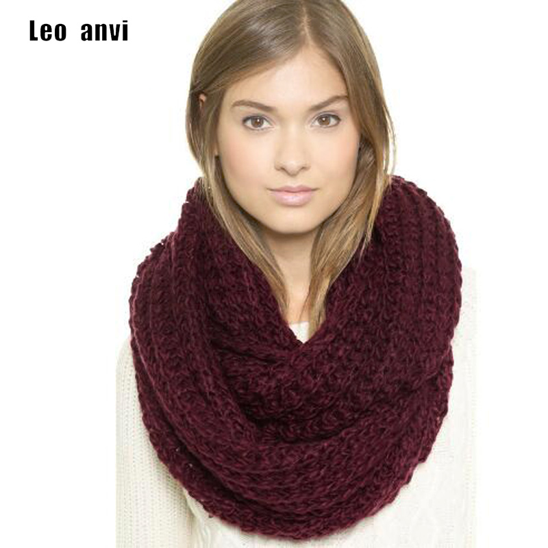 leo anvi crochet scarf infinity thick winter scarves women fashion Keep warm colorful unisex pattern tube ring scarf men