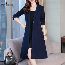 PinkyIsBlack 2019 Long Trench Coat Elegant OL Office Ladies Women Spring Autumn Blazer For Female