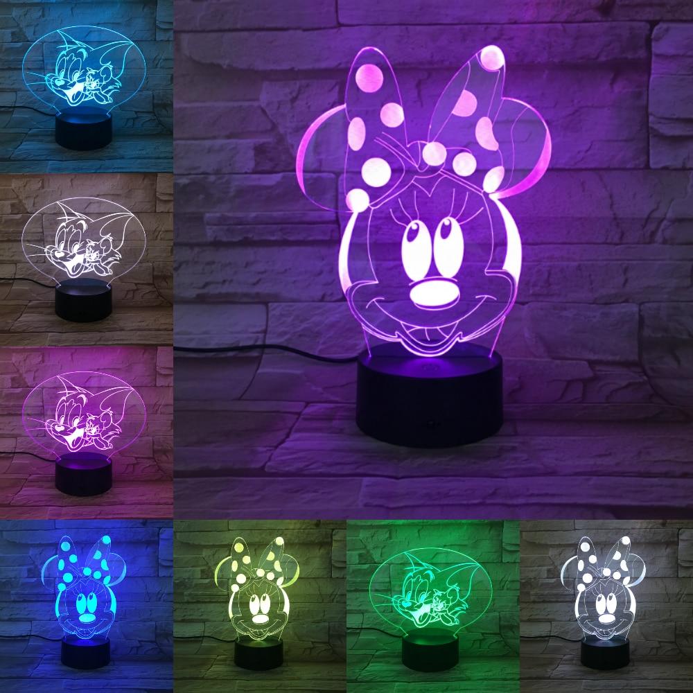 С Микки Маусом Мышь 3D лампа 7 цветов Изменение ночник 5 В USB настольная лампа прикроватная свет настроение для детей лава лампа прямая достав...