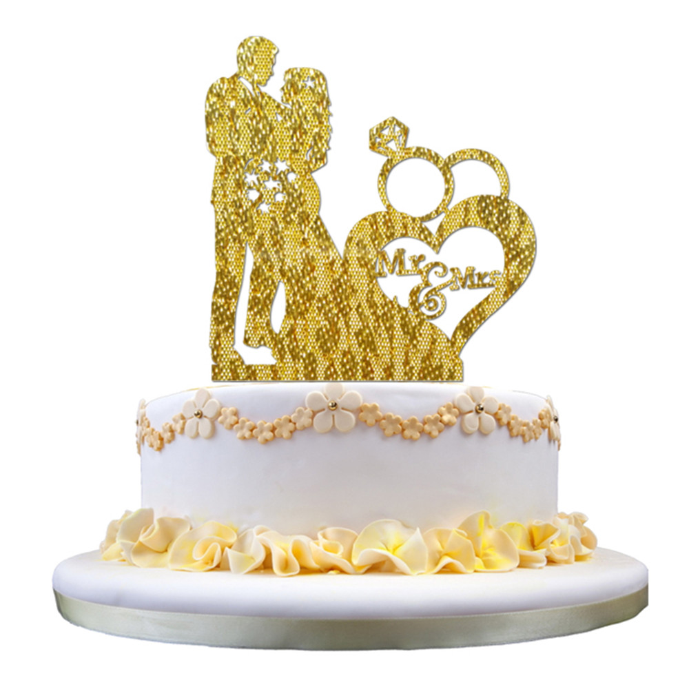 Acrylic Wedding Cake Topper Glitter Gold Cake Stand Topper Party ...