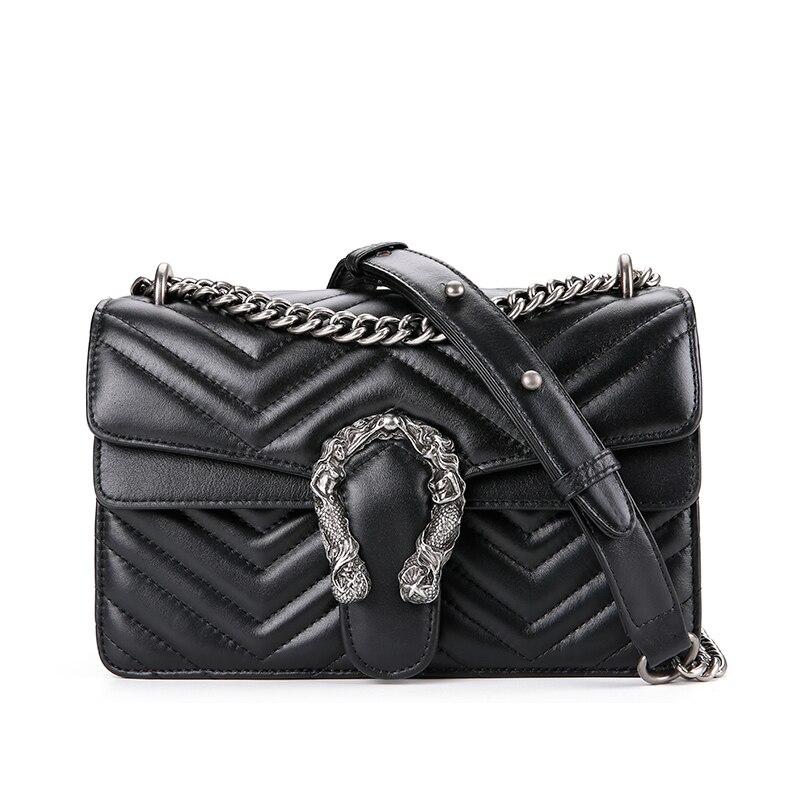 Moda panie luksusowe torba ze skóry naturalnej 2019 podróży Messenger kobiet torebki łańcuchowe projektant znanych marek kobiet torby na ramię w Torby z uchwytem od Bagaże i torby na  Grupa 2