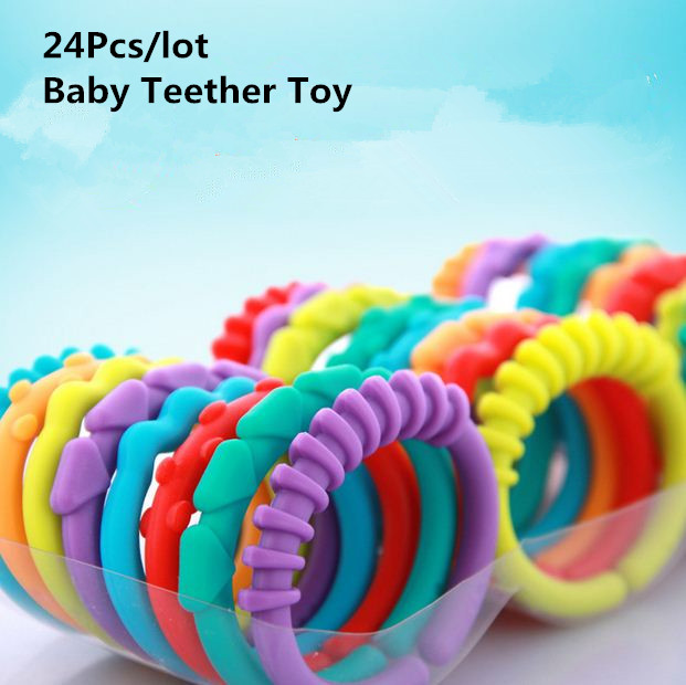 24Pcs/lot <font><b>Baby</b></font> Teether <font><b>Toys</b></font> <font><b>Baby</b></font> Rattle Colorful Rainbow Rings Crib Bed Stroller Hanging Decoration Educational <font><b>Toys</b></font> For Kids image