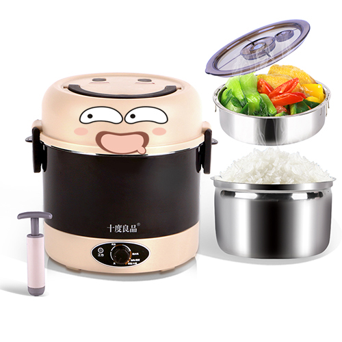 Stainless Steel Liner Electric Lunch Box 600W High Power Mini Rice Cooker Heating Lunch Container Vacuum Preservation bear portable mini electric lunch box stainless steel preservation for home and office mini rice cooker box container