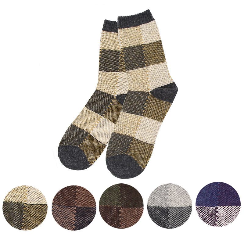 Goebel Winter Socks For Man Nation Wind Retro In Tube Socks Men Warm Square Grid Male Wool Socks 3pairs/lot