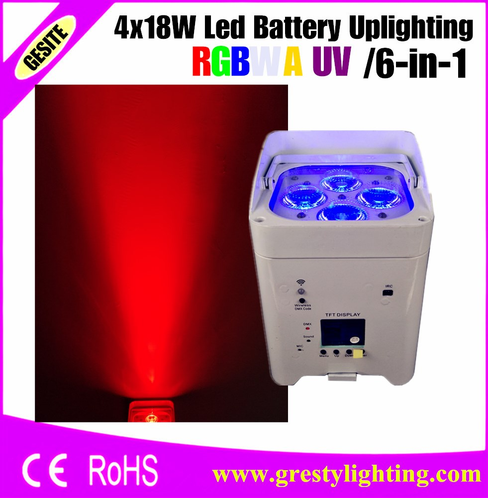 Colorful Background Party Weddings Decoration 6x18w 6 In 1 LED Battery&Wireless DMX &IRC Par Ligh