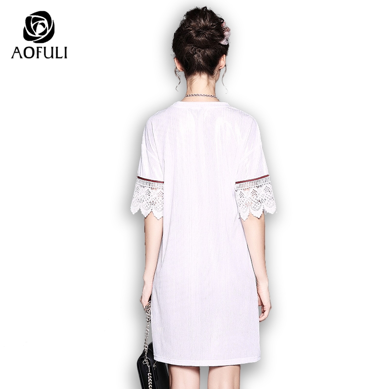 27058bab7856 AOFULI Silver Silky Dress Summer Plus Size Loose Casual Dress Flowers  Embroidery Short Sleeve Sundress S Xxxl 4xl 5xl 5257-in Dresses from  Women s Clothing ...