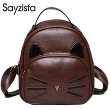Sayzisfa Фирменная Новинка женские рюкзаки кожаный рюкзак для девочки-подростки, школьные сумки Дамская винтажная Дизайн кошка рюкзаки T317