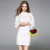 Brief Office Dresses Half Sleeve Fashion Sequined Zipper Classic Work New 2017 Early Autumn White Army