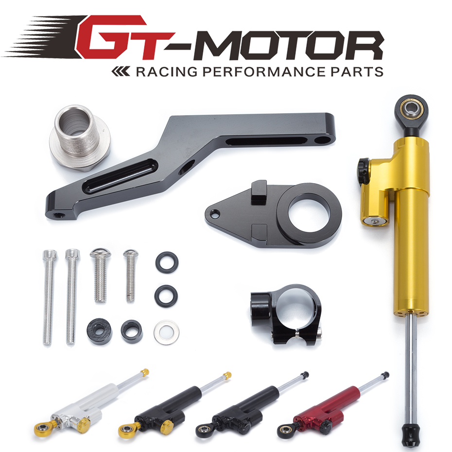 GT Motor - Motorcycle CNC Damper Steering StabilizerLinear Reversed Safety Control + Bracket For KAWASAKI ZX6R ZX-6R 2009-2016 motoo free shipping for kawasaki zx6r 2005 2006 zx 6r motorcycle aluminium steering stabilizer damper mounting bracket kit