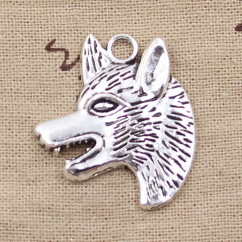 4pcs Charms Wolf Dog Wolfhound 35x30mm Antique Silver Color Plated Pendants Making DIY Handmade Tibetan Finding Jewelry image