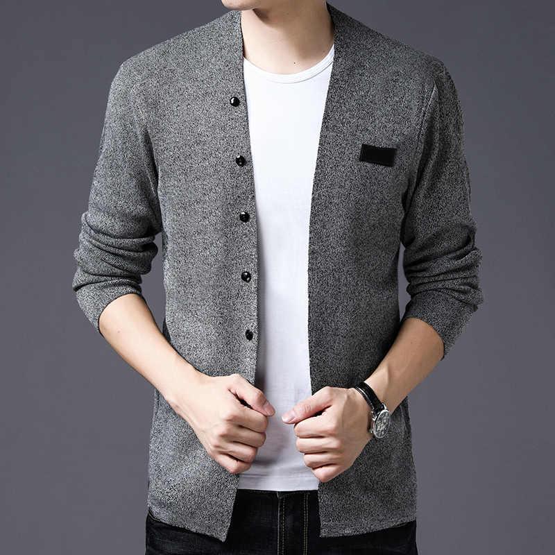 2019 春と秋のファッション新メンズカジュアルカーディガンニットジャケット/男性のスリム薄型セーターコート