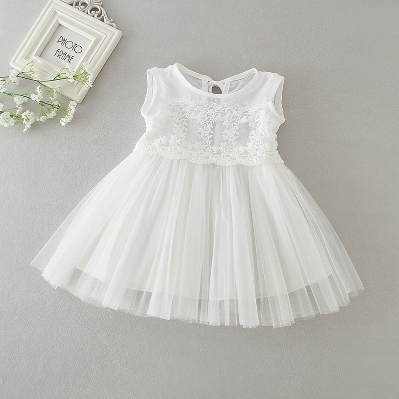 Baby Girl Dress White Tulle Dress Flower Embroidered Lace Overlay Dresses Sleeveless Summer Clothes A015 Vestidos Baby Outfits white sleeveless mesh and lace overlay details playsuit