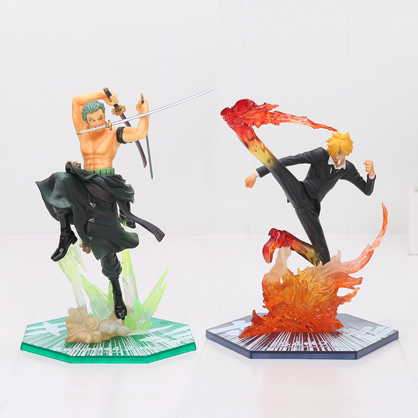 17cm Anime One Piece Fighting Sanji Diable Jambe Figure Doll Black Leg & Roronoa Zoro Exert Battle PVC Action Figures Model Toy one piece zoro 1 8 scale painted figure fighting ver roronoa zoro doll pvc action figures collectible model toys 19cm kt3359 page 3