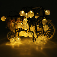 Solar Powered 5M 20 LED Crystal Ball Waterproof Outdoor Holiday String Lights For Garden Yard Home