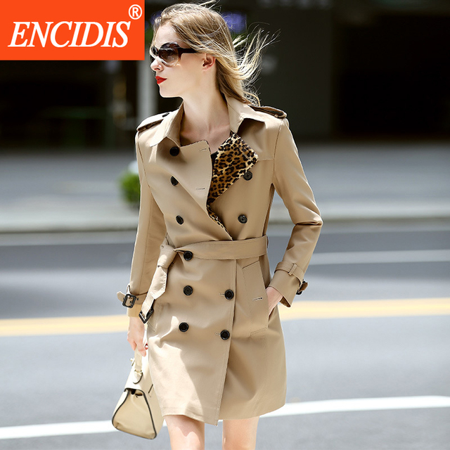 British Style Classic Khaki Long Trench Coats Women Coat Double Breasted Women's Winter Overcoat 2016 New Female Outerwear F261