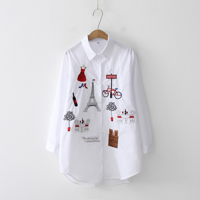 Casual Wear Collar Long Sleeve Cotton Blouse Embroidery HOT Sale 2