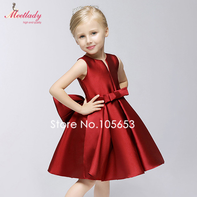 Aliexpress.com : Buy Wine Red Ball Gown Satin Flower Girl Dresses ...