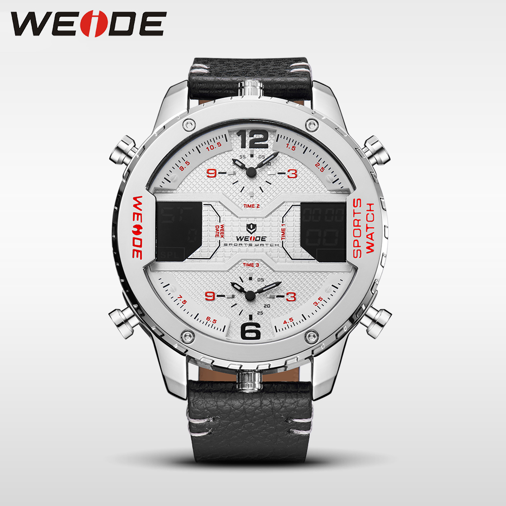 WEIDE genuine luxury brand NEW watch quartz men leather sport watches LED Double display waterproof digital alarm white clock цена