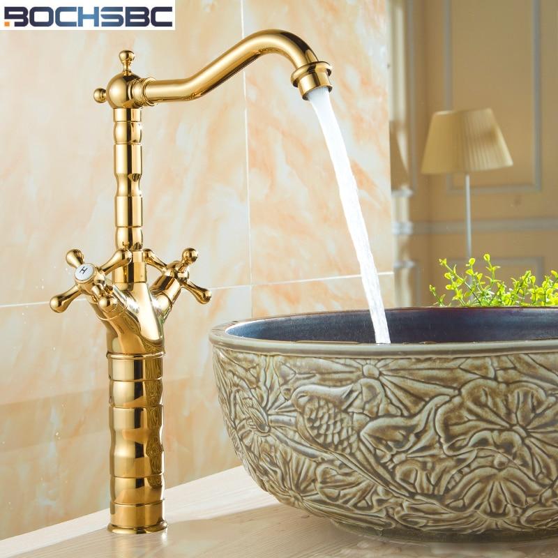BOCHSBC robinet doré européen complet en cuivre robinet de salle de bain de luxe mitigeur de lavabo monotrou doré Antique robinet d'eau