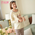 2016 New Maternal Confinement Maternity Clothing Nursing Pajamas Long-sleeved Cotton Dress Autumn And Winter Pajamas