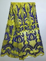 French Lace Fabric High Quality French Lace With Stones And Beads Nigerian Embroidered Tulle Mesh Fabric For Dress D1088