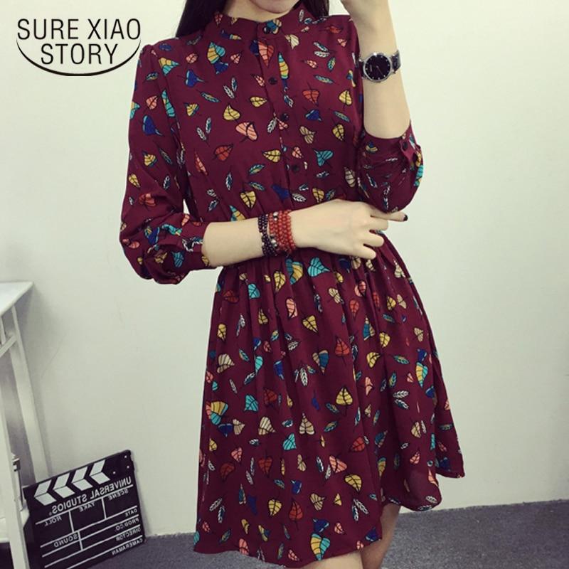 59d0270ddb1cb2d Модные женские платья 2019 Весна Повседневный принт шифоновое платье  женское с длинным рукавом 3XL плюс размер с высокой талией женское платье.