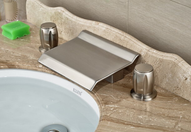 цена на Nickel Brushed Finished 2 Handles Deck Mounted Waterfall Spout Bathroom Basin/Sink Mixer Tap