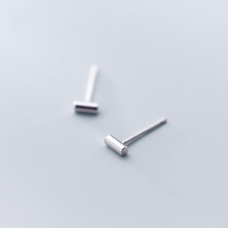 WTLTC 925 Sterling Sliver Small Bar Stud Earrings For Women Minimal Tiny Post Earrings Mini Rod Line Studs Earrings Minimalist