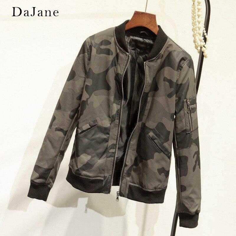 DaJane New Camouflage Locomotive Pu   Leather   Baseball Uniform Jacket Europeanfashion   Leather   Jacket