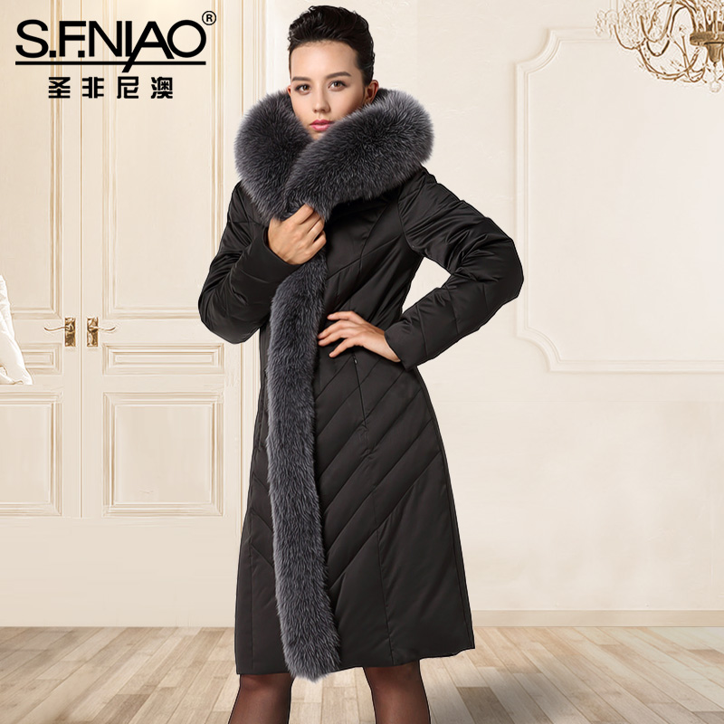 Winter Down Jacket In The Long Women Slim Slim Big Fur Coat Solid Tide Thickening Women Fur Parka Pink Winter Coats Women 2017 winter new clothes to overcome the coat of women in the long reed rabbit hair fur fur coat fox raccoon fur collar