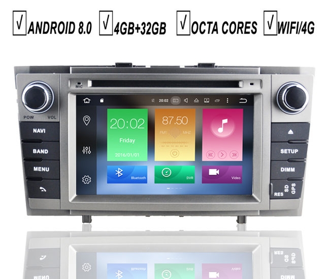 7''Car <font><b>Android</b></font> 8.0 Navigation For <font><b>Toyota</b></font> Avensis <font><b>T27</b></font> 2009-2014 Auto DVD GPS Player Multimedia Octa Core Radio BT 4GB RAM SD DAB+ image