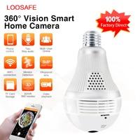 LOOSAFE 3MP 360 Degree Wireless IP Camera Bulb Light FishEye Smart Home CCTV 3D VR Camera