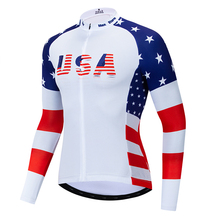 2019 USA cycling jersey winter long sleeve Winter Fleece&no Fleece clothing Reflective zipper 4 pocket