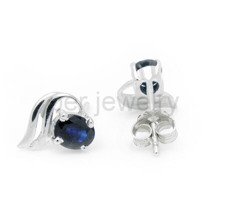 8d3990dd4 Origin blue sapphire stud earring Natural real sapphire 925 sterling silver  Free shipping 0.35ct*2pcs gems #16071726-in Earrings from Jewelry &  Accessories ...