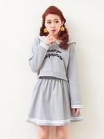 High Quality Women Casual Tops Skirt Set Preppy Style Sweet Women S Sailor Collar Sailor Suit