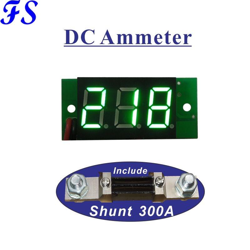 Амперметр с шунтом 300A 75мв светодиодный 0,36 ''цифровой амперметр тестер Мини-измеритель тока панель Датчик Ампер Источник питания DC 4,5-30 в