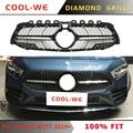 Для Mercedes Benz для W177 А класса решетка с бриллиантами передний бампер Гриль гоночный Гриль Для AMG A200 2019 +