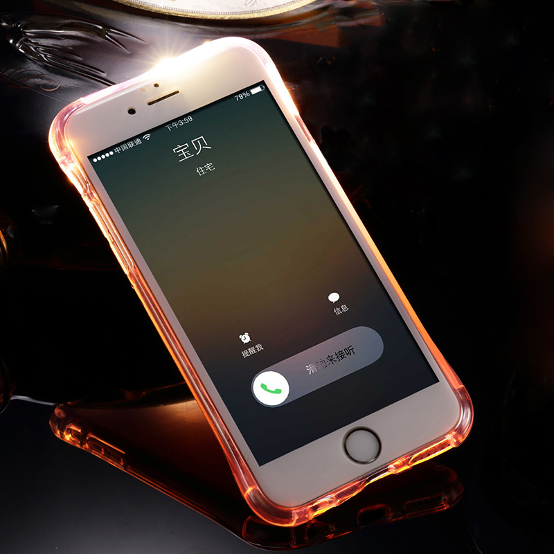 LED Flash TPU Case For iPhone 8 7 Plus 5 5S SE 6 6S Plus Cases Transparent Luminous Back Cover For iPhone X Up Remind incoming