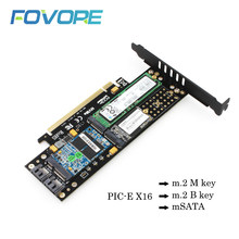 M2 NVME NGFF M Key B Key msata to PCIE 3.0X16 SSD Expansion Card Mkey Bkey msata 3 in 1 PIC Express 16X High Speed Adapter Card(China)
