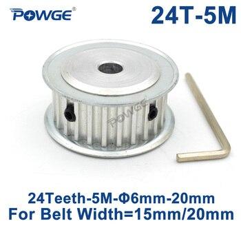 Polea de sincronización síncrona HTD 5M de 24 dientes POWGE 6/6. 35/8/10/12/14/15/16/17/18/19/20mm para ancho 15/20mm HTD5M 24 dientes 24 T