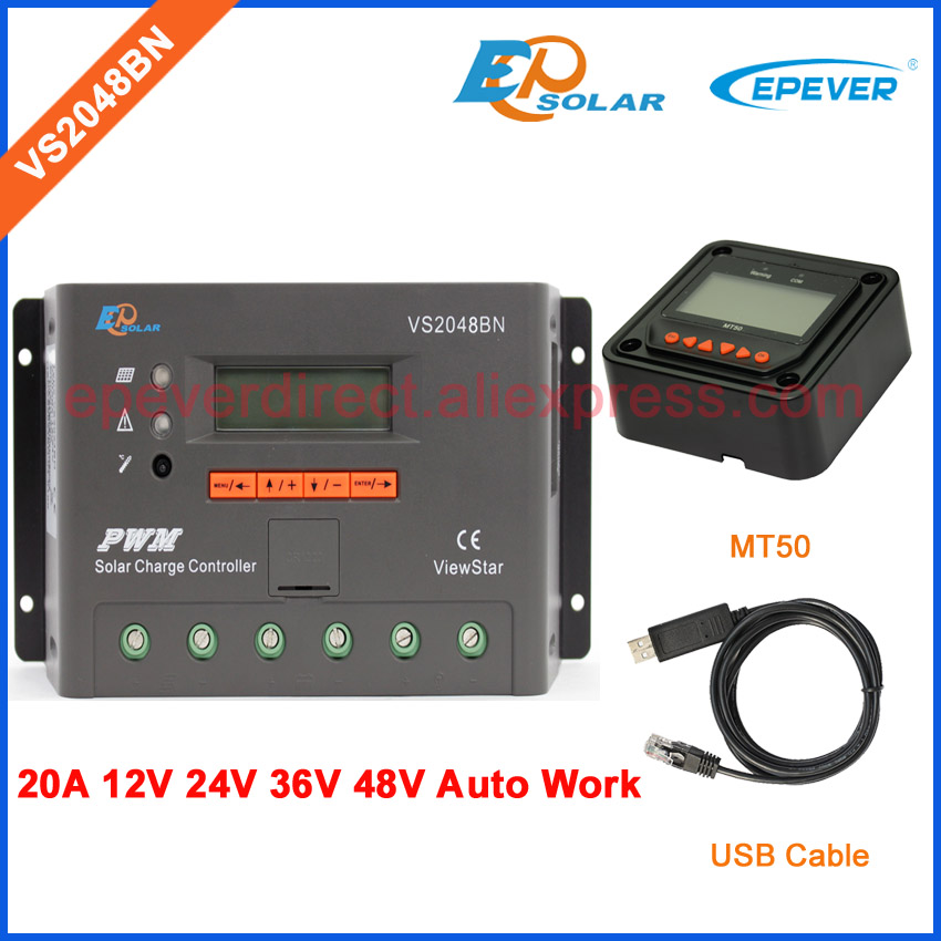 two colors MT50 remote meter options VS2048BN PWM high quality solar regulator 48V 36V with USB cable PC connect 20A with white color mt50 remote meter epsolar pwm solar battery charger controller bluetooth function usb cable ls2024b 20a