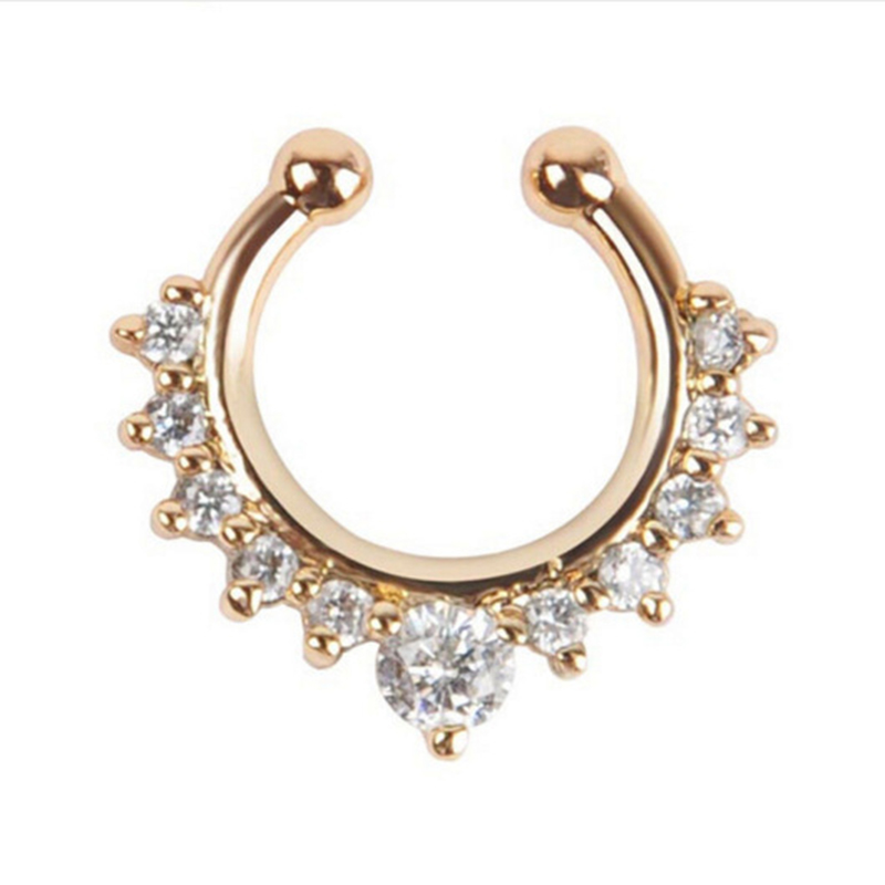 Qevila Crystal Fashion Clicker Fake Septum for Women Body Clip Hoop Vintage Fake Nose Ring Faux Piercing Body Jewelry Wholesale (10)
