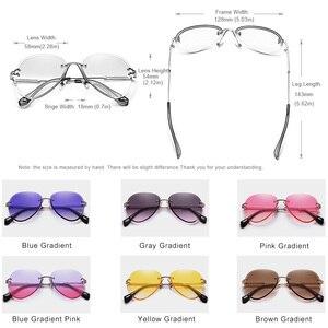 Image 3 - KINGSEVEN 2019 projekt Vintage modne okulary słoneczne bez oprawek kobiet okulary gradientowe szkła marka projektant óculos De Sol Feminino