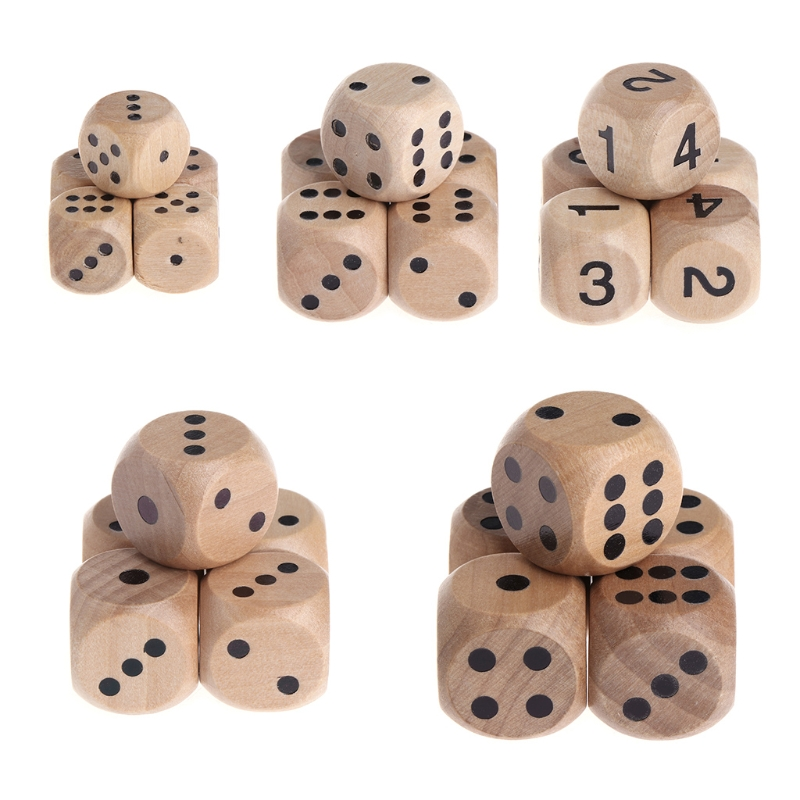 5pcs 6 Sided Wood Dice Mahjong Party Number Or Point Round Coener Kid Toys Game